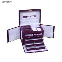 JEWELRY BOX PURPLE LEATHER TRAVEL CASE JEWELLERY BOXES w/ LOCK KEY ORGAN... - $128.95