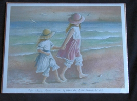Friends Forever -Young Girls Holding Hands on Beach by Miran Lee Print - $7.99
