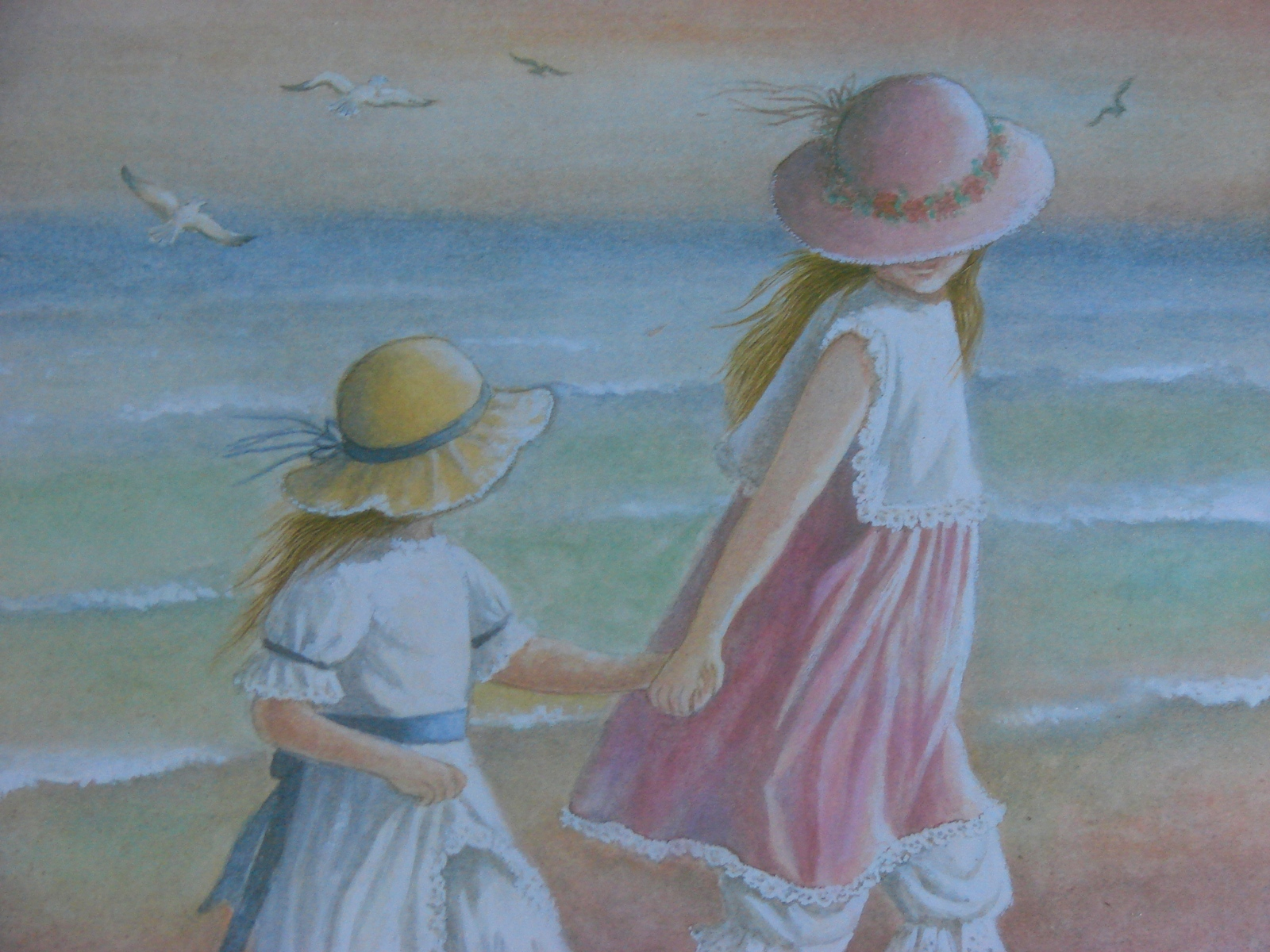 Friends Forever -Young Girls Holding Hands on Beach by Miran Lee Print