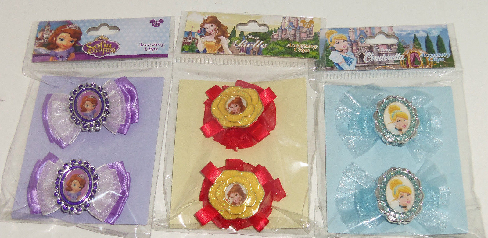 Disney Princess Girls Hair Clips Accessories Belle Cinderella Sofia the First