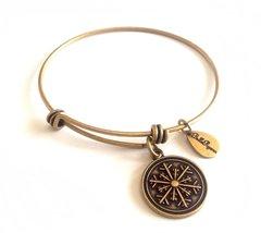 Bella Ryann Snowflake Round Gold Charm Bangle Bracelet