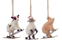 Three Farm Animal Ornaments - Sheep Cow and Pig - Winter Skiing
