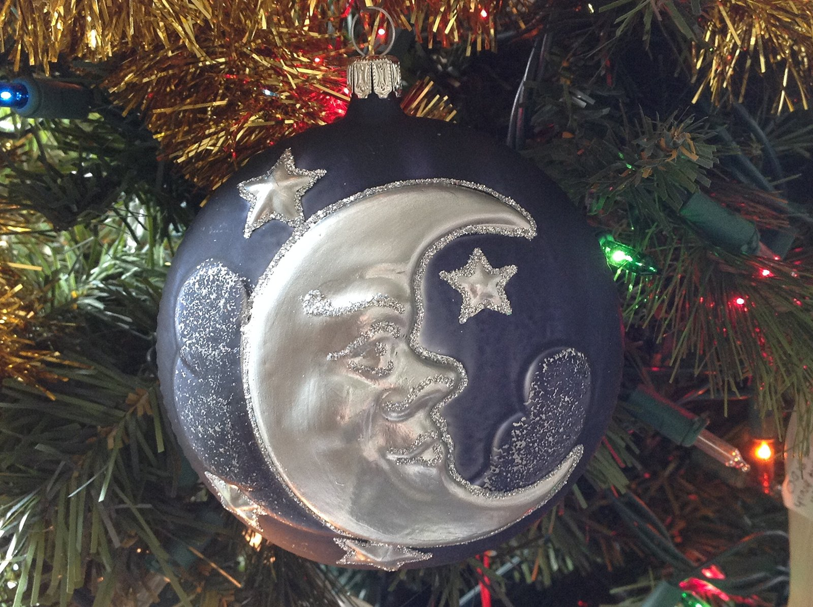 Blue and Silver Celestial Crescent Moon and Stars Glass Ornament