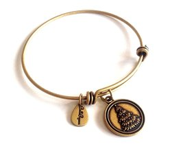 Bella Ryann Christmass Tree Round Gold Charm Bangle Bracelet