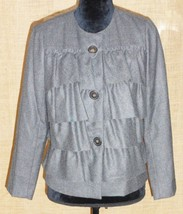 J Crew women's wool blazer jacket ruffle career casual size 4 gray - $39.55