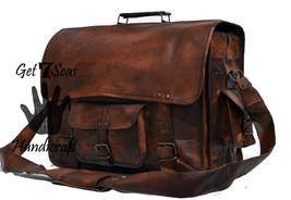 Leather messenger bag men's shoulder women satchel briefcase men laptop ... - $54.75