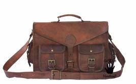 Leather computer bag men's shoulder laptop women messenger men briefcase... - $44.30