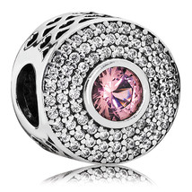 925 Sterling Silver Radiant Splendor with Blush Pink Crystal Charm Bead ... - €20,88 EUR