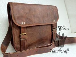 Messenger bag leather men's vintage shoulder laptop women satchel briefcase bags - $52.37