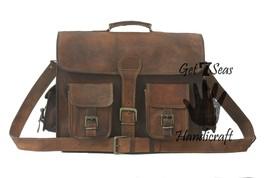 Leather briefcase men's shoulder laptop women messenger satchel men genuine bags - $69.20