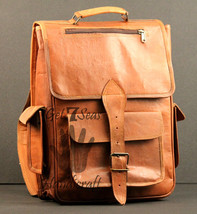 Real genuine men's leather backpack bag laptop satchel brown briefcase  ... - $64.65