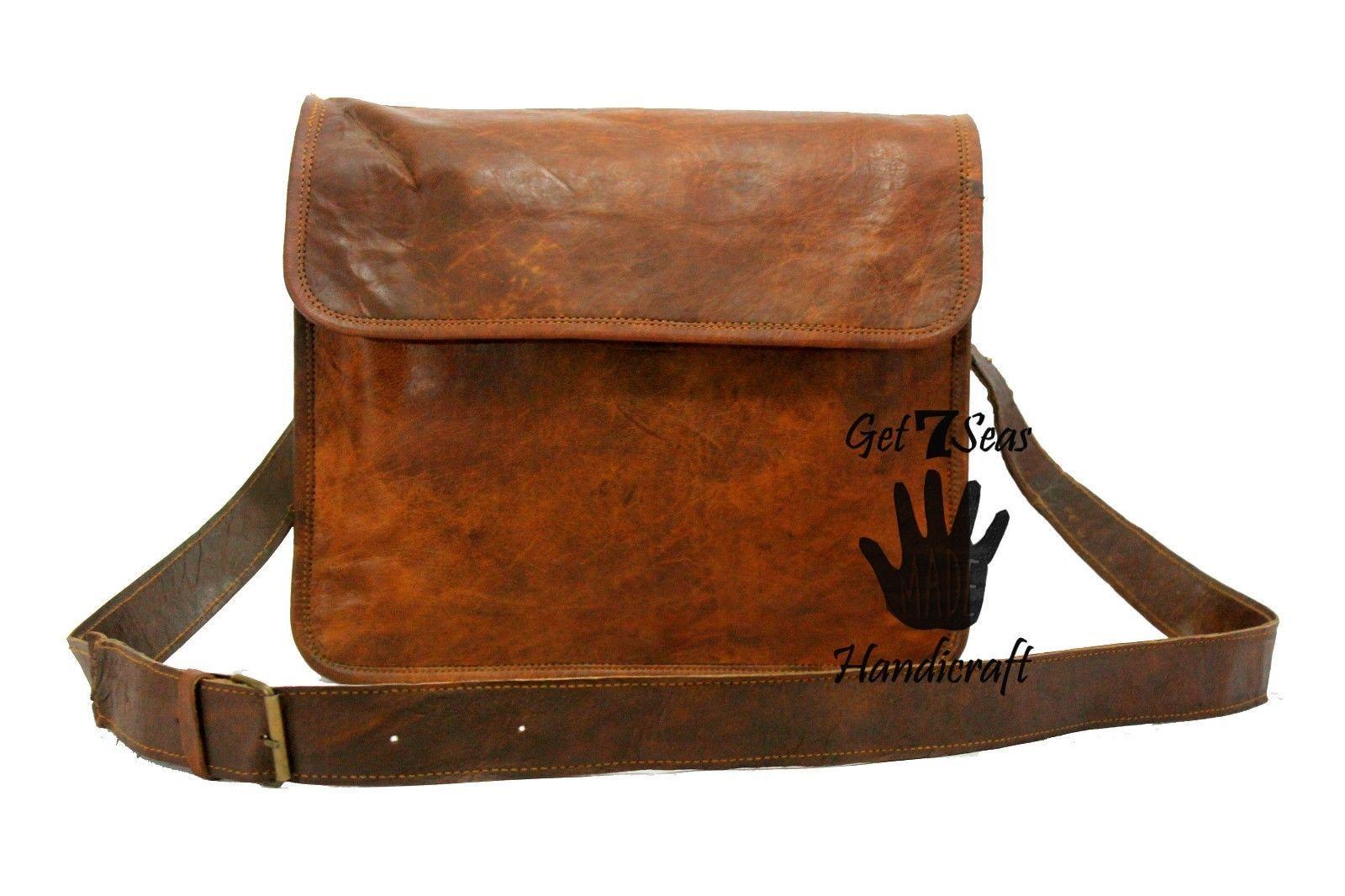 Leather satchel men's shoulder laptop women messenger cmputer men Genuine bags