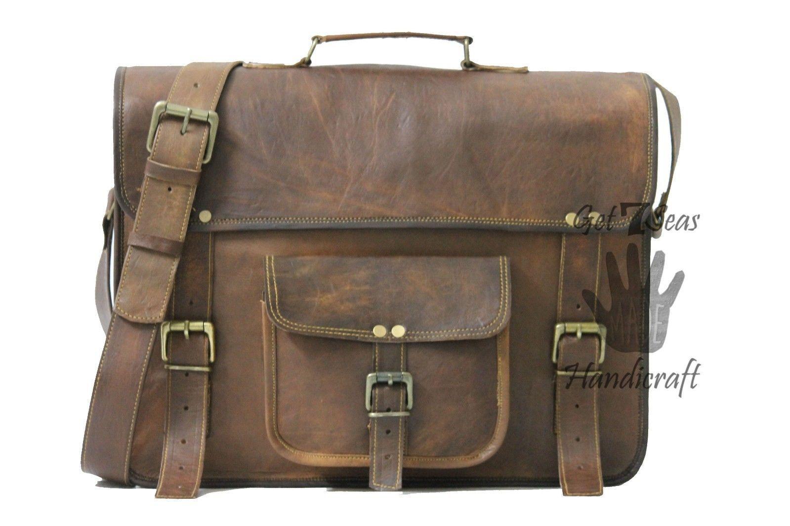 Leather computer bag men's shoulder laptop women satchel briefcase gwnuine Bags
