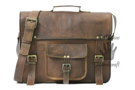 Leather computer bag men's shoulder laptop women satchel briefcase gwnui... - $65.54