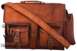 Leather computer bag men's shoulder laptop women vintage men messenger briefcase - $53.76