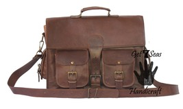 Leather computer bag men's shoulder laptop women briefcase messenger gen... - $55.70