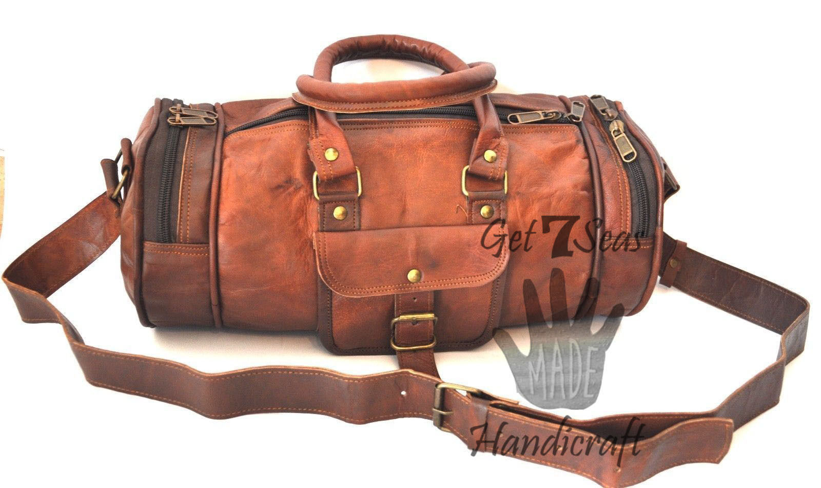 Mens leather travel weekender bag overnight duffle women vintage large luggage