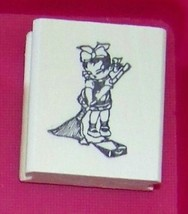 Oriental Asian Girl sweeping floor Rubber Stamp made in america free shipping - $13.63
