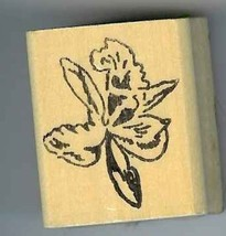 Orchid  tropical flower Rubber Stamp floral made in america free shipping - $13.63
