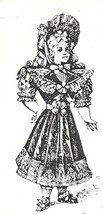 Victorian Girl large fancy dressed rubber stamp 3.5 by 1.5 size - $13.85