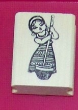 Oriental Asian Girl stirring bowl Rubber Stamp made in america free shiping - $13.64