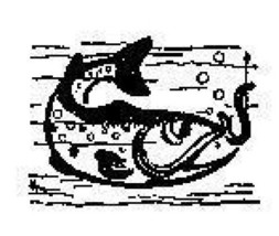 Fish getting hooked aquatic Rubber Stamp made in america free shipping  ab - $13.63