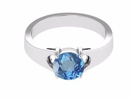 Shine jewel 925 silver round cut blue topaz sparkle halo ring - $22.76