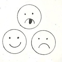 Smile Frown Yucky 3 Face designs Rubber Stamp  made in america free shipping sm - $16.22