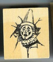 Clown head breaking thru wall Rubber Stamp made in america USA - $16.22