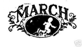 March Month Rubber Stamp spring Kite flying boy Made in USa - $13.63