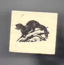Otter on branch rubber stamp animal wildlife wild - $13.63