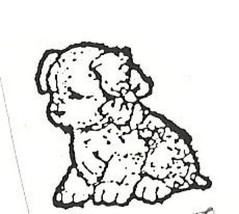 Puppy Dog with bow Rubber Stamp  made in america free shipping - $13.63