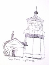 Cape Mears Lighthouse artist signed Rubber Stamp made in america  free shipping - $17.32