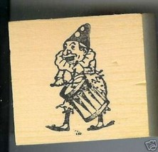 Clown drumming on drum while walking rubber stamp small - $13.64