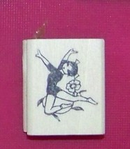 Oriental Asian Gril Dancing w flower #3 Rubber Stamp made in america free ship - $13.63