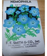 Vintage 1920s Seed packet 4 framing Nemophila blue F F Smith co Sacramen... - $13.63