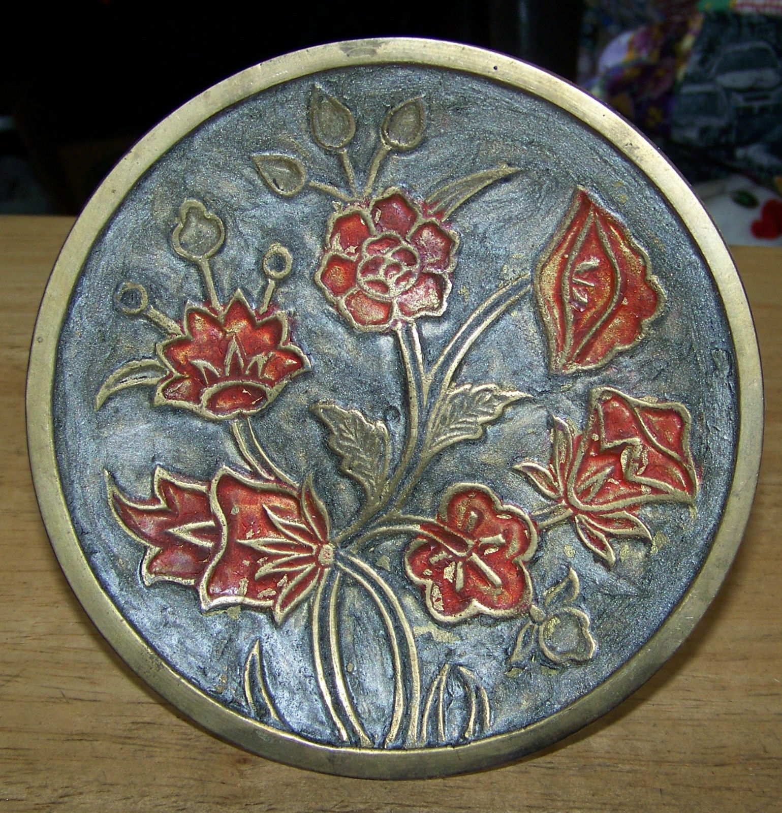 Primary image for vintage Brass Floral flower design decorator plate attached stand