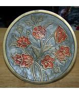 vintage Brass Floral flower design decorator plate attached stand - $13.64