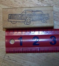 1960's vintage boxy square car with lady driver Rubber Stamp - $14.93