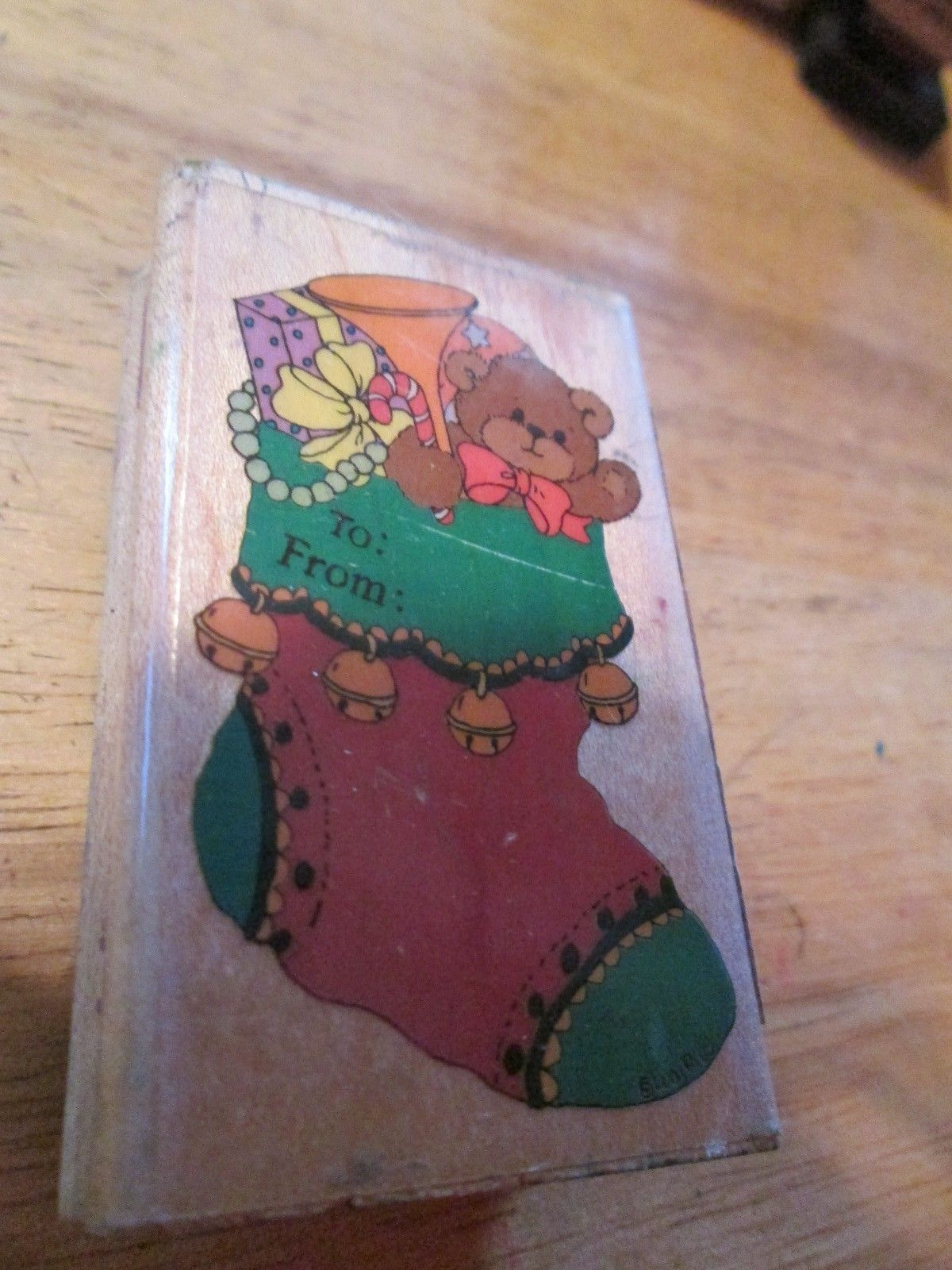 Stocking Tag Rubber Stamp   2 7/8 x  1 3/4 inches Lucy & Company 766-e - $13.63