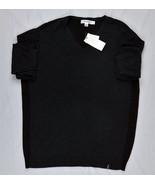 Calvin Klein Men's Merino Full Needle V-Neck Sweater, Gray/Black, Large - $44.30