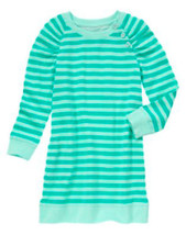 Gymboree Center Stage Mint Green Striped French Terry Dress Girls 10 NEW... - $20.42