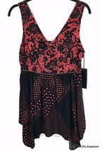 Alice Through The Looking Glass Sleeveless Tunic Top Large Red Black Corset Back - $24.70