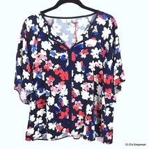 Elle Draped Dolman Short Sleeve Top Large Navy Red White Tan Floral Spli... - $24.70