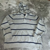 Youth Size Medium 10-12 Polo Ralph Lauren Gray Navy Striped Hoodie Sweatshirt - $24.00