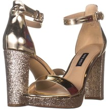 Nine West Dempsey3 Ankle Strap Block Heel Sandals 882, Gold, 6 US - $28.79