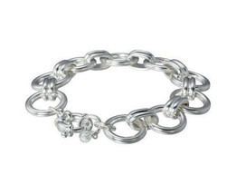 """Lonna & Lilly 7.25"""" Silver Tone Circle Link Chain Bracelet NWT"""