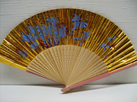 Asian Hand Painted Gold Design Hand Held Folding Fan # 39 - $12.99