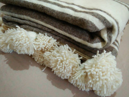 King Bed Size All Bed sizes Gorgeous Moroccan Wool PomPom Blanket Grey and cream - $79.00+
