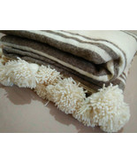 King Bed Size All Bed sizes Gorgeous Moroccan Wool PomPom Blanket Grey a... - $79.00+